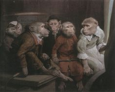 Examples of Singerie, from the French for Monkey Trick, a genre of art in which monkeys are depicted aping human behaviour.