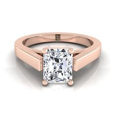 Radiant Cut Diamond Solitaire Engagement Ring With Cathedral Setting And Squared Edge Shank In Yellow Gold Radiant Cut Engagement Rings, Rose Gold Engagement Ring, Solitaire Engagement, Square Diamond Rings, Diamond Solitaire Rings, Diamond Jewelry, Radiant Cut Diamond, Shank, Bracelet Watch