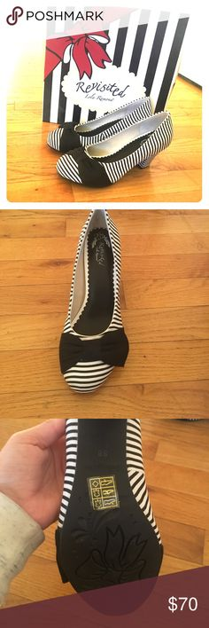 Lola Ramona Elsie Pumps Lola Ramona revisited black and white striped heels with black bow. Never worn other than to try on and kept in original box in dust bag. European size 38. lola ramona Shoes Heels