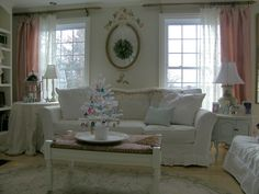 Living Room Design with Pink Curtains and Drapes Picture