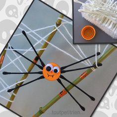 Araignée avec des cotons tiges et un bouchon orange. www.toutpetitrien.ch/bricos/ - fleurysylvie #bricolage #enfant #halloween