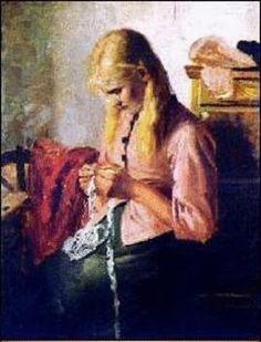 Young Girl Knitting, Michael Ancher (Danish, 1849-1927)