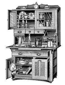 Victorian furniture illustration, black and white graphics ...