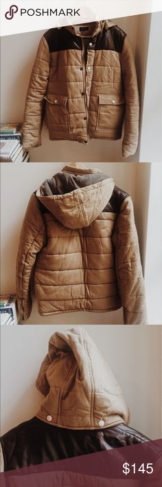 Like new APC hooded puffer coat Like new, only worn twice with no flaws. Size small APC khaki puffer coat with polyester fill, genuine leather upper yoke, detachable hood (button snaps), zipper sleeves allow for snug fit to arms. This is a very warm jacket appropriate for temperatures of high 20s-low 40s. Inside pocket photo detail. APC Jackets & Coats Puffers