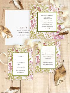 Spring brides will love Minted artist Sara Hicks Malone's Painted brushwork wedding invitation, available in pastel abstractions of pink, green, blue, and purple on Minted.com
