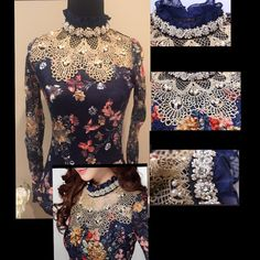 Gorgeous Lace Blouse with Diamond & Pearls! This long sleeve navy lace blouse with floral detail sparkles!  It is also COMFY w/a silk lining. The long sleeves are sheer. The gold, pearl and rhinestone neckline is stunning!!  Fits true to size. Tops
