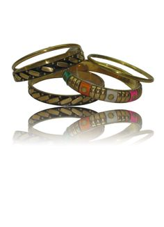 5 Piece Brass Bangle Set with Coloured Stones Rs. 299.00  Availability: In stock      Description     Additional Information     Comments   Unique mix of Coloured stone  Perfect to match with your summer sundress  Easy to slip on  Sits comfortably around the wrist