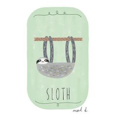Sloth art print - 6x4 illustration - Available in pink, peach, cream, green, teal, blue & purple