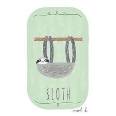 Sloth art print - 6x4 illustration - Available in pink, peach, cream, green, teal, blue & purple - sloth print, animal theme nursery