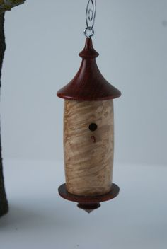 Turned wood ornament birdhouse by TurningsByTroy on Etsy, $35.00