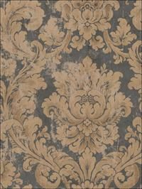 Binghamton Wallpaper by Seabrook Wallpaper. Take an additional off all wallpaper and fabric! Damask Wallpaper, Pattern Wallpaper, Wallpapering Tips, Blue Picture Frames, San Rocco, Traditional Wallpaper, Traditional Design, Decorative Accessories, Vintage World Maps