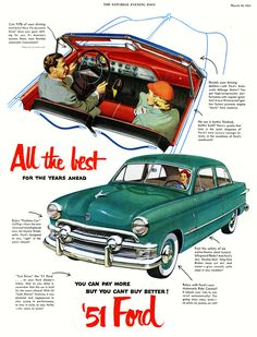 1951 Ford... Mine had a red dash like the one in this ad.