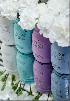 Painted Distressed Mason Jars
