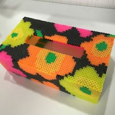 Marimekko-style tissue box cover perler beads by k-chippy