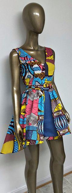 DENWAX Collection. African Print Denim Mini Romper. Jumpsuit. Pockets. Womens Clothing. Handmade. Optional Mini Hi-Lo Overskirt. This is an African Print Denim Mini Romper. Jumpsuit. Pockets. Ankara | Dutch wax | Kente | Kitenge | Dashiki | African print dress | African fashion | African women dresses | African prints | Nigerian style | Ghanaian fashion | Senegal fashion | Kenya fashion | Nigerian fashion | Ankara crop top (affiliate)