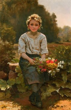 Dumitru Coțe - Google+Artist : César Pattein (French , 1850 - 1931) Title : The flower girl . La fille aux fleurs.