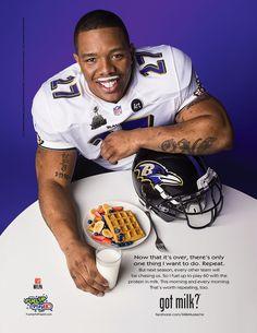 "Ravens Ray Rice Celebrate Super Bowl Win With A ""Got Milk"" Mustache"