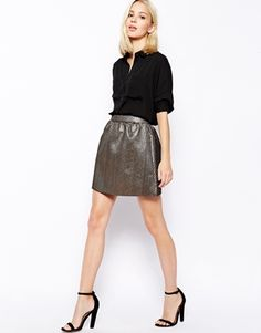 Image 1 ofSugarhill Boutique Golden Girl Metallic Skirt