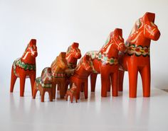 """Herd of Eight (8) Vintage Swedish Dala Horses - Some Very Old - 8"""" to 1 3/4"""""""