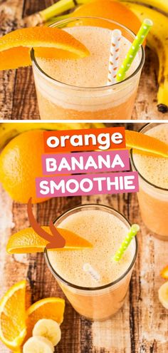 Learn how to make Orange Banana Smoothie! With a creamy citrus blend of oranges, bananas, carrots, greek yogurt, and honey, this easy drink recipe has a burst of flavor to start your morning right… Easy Drink Recipes, Clean Eating Recipes, Healthy Recipes, Breakfast Smoothie Recipes, Yummy Smoothies, Protein Energy Bites, Protein Shakes, Orange Banana Smoothie Recipe, Greek Yogurt