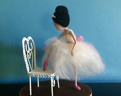 Needle felted ballerina, Waldorf inspired, Wool fairy, Pink ballet shoes, Ballet, Soft sculpture, Children room, Home decor, Gift