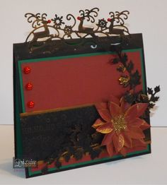 Jo Mckelvey - Reindeer Dance Edge'able - Matt Black card - Core'dinations - Pebei Renaissance gold gliding wax -Die'sire Christmas Classique dies: poinsettia and Ivy -  Embossing folder  Nordic Christmas time - #crafterscompanion #Christmas