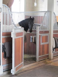 Martha Stewart's stables. I like how the wall between each horse does not reach to the ceiling, allowing for great air circulation and a less constricted feel.