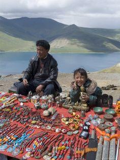 Craft Stand, Turquoise Lake, Tibet Photographic Print