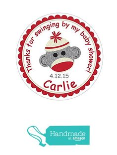 Personalized Customized Baby Shower Favor Thank You Stickers - Sock Monkey - Round Labels - Choose Your Size