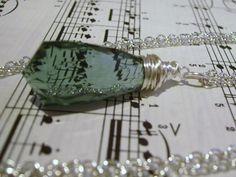 32.8ct Green Amethyst Briolette Tear Drop Silver Necklace $22.00