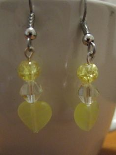 Yellow Heart Charm Glass by BeadazzlingButterfly on Etsy, $8.00