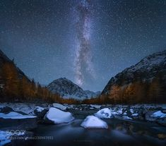 Starry night over the Aktru... Altay mountains. Russia