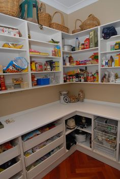 Splendid Corner Walk In Pantry Layouts With White Painted Wood Mounted Wall Kitchen Cabinet Also Herringbone Pattern Wooden Looks Floor From