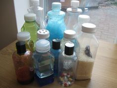 Discovery Bottles. Fill bottles with different kinds of things and allow kids to play with them. (Try: one with glycerin and glitter; cut up pipe-cleaners into another bottle. Use a magnet to manipulate them.)