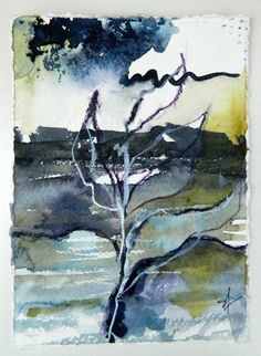Abstract organic nature, Original watercolor painting, landscape earthy, leaf design, 5 x 7. Indigo blue, green gold, paynes grey, violet.