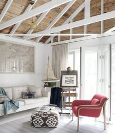 Converted garage - like the open rafters and contrast between the white beams and the wood roof. Garage Renovation, Garage Remodel, Garage Makeover, Garage Interior, Cottage Renovation, My Living Room, Living Spaces, Living Area, Grange Restaurant