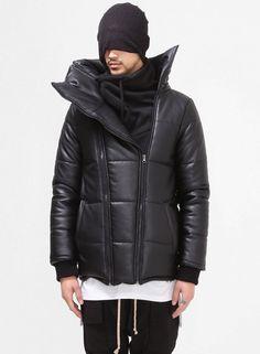 Huge Turtle Neck Leather Puffer Jacket $176.00 #Fashion #Street #Style #Leather #Black