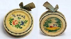 19th C Hand Painted Celluloid Pin Cushion  for SARAH.
