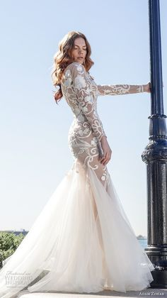 adam zohar 2017 bridal long sleeves illusion jewel neck heavily embellished bodice elegant trumpet wedding dress open v back sweep train (7) sdv -- Adam Zohar 2017 Wedding Dresses