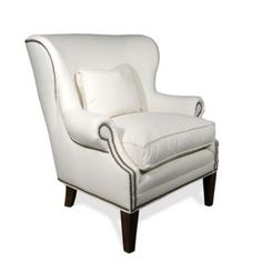 Martel Nail Head Wing Chair - exactly what I want for the home office, just not sure of which fabric, definitely one of the gray patterns though!