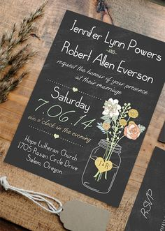 Chic Rustic Mason Jars Themed Chalkboard Wedding Invitations