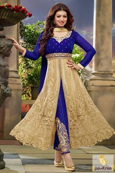 We offer Indian bollywood actress heroine Ayesha Takia special blue cream color velvet net anarkali suit online shopping with best price. Get the best party wear anarkali dresses online collection 2015-2016 with free shipping charges in India. #salwarsuit, #anarkalisalwarsuit, #bollywoodsalwarsuit, #aayeshatakiyaanarkalisalwarsuit, #weddingsalwarsuit, #designerdresses More : http://www.pavitraa.in/store/partywear-salwar-suit/ Call / WhatsApp : +91-76982-34040  E-mail: info@pavitraa.in