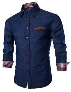 US Mens Casual Denim Shirts Long Sleeve Button Down Slim Fit Jeans Shirt Tops