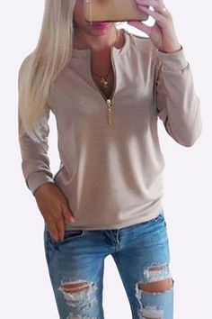 Khaki Causal Round Neck Zipper Long Sleeves T-shirt
