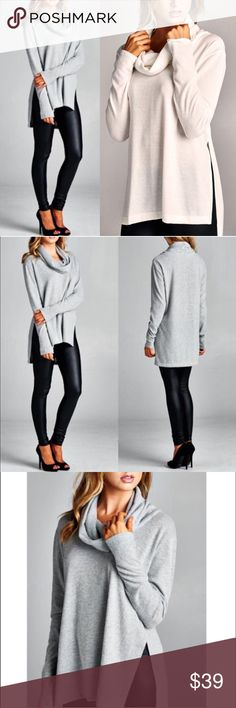 The EVERDEEN hi-lo top - IVORY/H.GREY Super soft & comfy long sleeve side slit fuzzy texture Top. Cowl neckline. This fabric has good stretch. Fabric 67% Polyester, 29% Rayon, 4% Spandex Made in U.S.A. AVAILABLE IN IVORY & H. GREY NO TRADE, PRICE FIRM Bellanblue Tops Tees - Long Sleeve