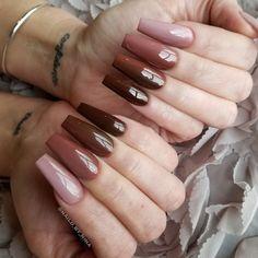 Cute gel nails, cute acrylic nails, glitter nails, brown nails, white n Fall Acrylic Nails, Acrylic Nail Designs, Nail Art Designs, Nails Design, Autumn Nails, Cute Gel Nails, Pretty Nails, Glitter Nails, Coffin Nails Long