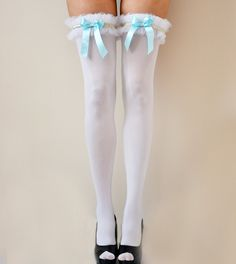 LOLA White Opaque Ruffles Thigh High stockings with light Blue satin Bow - wedding pantyhose. $53.00, via Etsy.