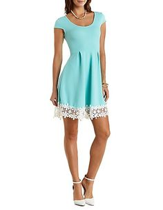 Floral Crochet-Trimmed Skater Dress: Charlotte Russe #crochet #dress