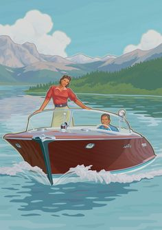 Hagerty Classic Boats by Mitch Frey via Behance classic boat speedboat water ski sailboat sailing lake dock travel poster WPA National Park mountain vintage retro family vacation wooden boat insurance antique Plywood Boat Plans, Wooden Boat Plans, Jon Boat, Boat Dock, Lake Dock, Duck Boat, Riva Boat, Chris Craft Boats, Lake Pictures