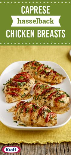 Caprese Hasselback Chicken Breasts – Transform your evening with this Italian-inspired recipe for your dinner table. With layers of CLASSICO Traditional Basil Pesto Sauce and Spread, basil, and KRAFT Grated Parmesan Cheese, this dish is ready in just 35 minutes.